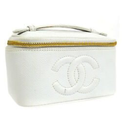 Auth CHANEL CC Logos Cosmetic Hand Bag Pouch White Caviar Skin Leather AK22323