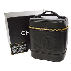 Auth CHANEL CC Vanity Cosmetic Hand Bag Black Caviar Skin Leather VTG AK14213