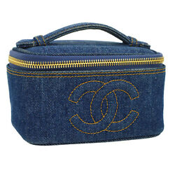Auth CHANEL CC Logos Cosmetic Vanity Mini Pouch Bag Blue Denim Vintage G03165