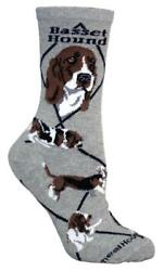 Basset Hound Dog Gray Cotton Ladies Socks