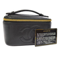Auth CHANEL CC Cosmetic Hand Bag Vanity Black Caviar Skin Leather GHW AK20421