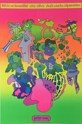 Peter Max Vintage Original Poster 1969 Life Is So Beautiful Stay Alive