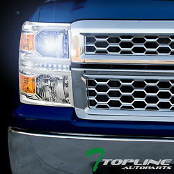 8000K HID XENON+CHROME LED HEAD LIGHTS SIGNAL LAMP AM DY 2014-15 SILVERADO 1500