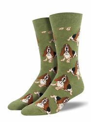 Basset Hound One Size Fits Most Heather Olive Mens Socks
