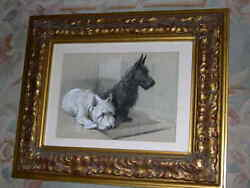 LARGE ANTIQUE SCOTTISH & WEST HIGHLAND TERRIER DOG PAINTING A.E. KENNEDY 1930