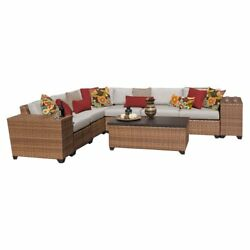 TK Classics Laguna Wicker 9 Piece Patio Conversation Set with 2 Sets of Cushion