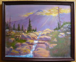 W.e. Knight, Vintage Oil Luminous Western Landscape W/ Deer And River Mountain