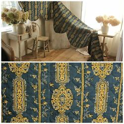 Antique Valance 18th Century Indigo Blue French Textile Quilted Bed Hanging
