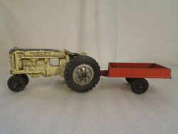 Vintage Hubley Toy Tractor And Farm Trailer