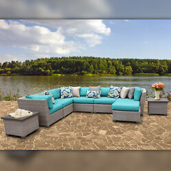 Delacora TKC-DPF-FLO09C Florence Outdoor 9 Piece Conversation Set - Includes End