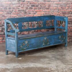 Antique Folk Art Blue Painted Hungarian Storage Bench