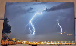 Picture Of A Canvas 45.5x30cm For Hanging Lightning From The Haifa Bay, Israel