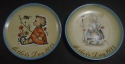 Vintage Hummel Schmid Bros. 1974 + 1975 Mother's Day Collector Series Plates