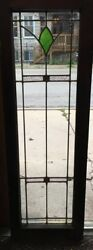 Antique Stained Leaded Glass Door / Window 45 By 15 1/8