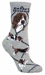 Adult Size Medium BASSET HOUND Adult SocksGrey Made in USA