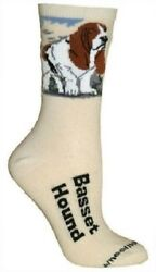 Adult Size Medium BASSET HOUND Adult SocksNatural Made in USA
