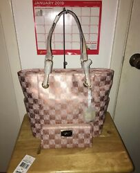 Michael Kors ROSE GOLD Checkerboard Jet Set Tote & Zip Around Wallet SUPER RARE