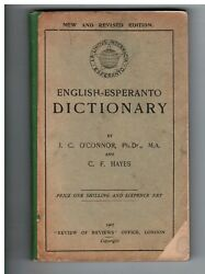 Early 1907 ENGLISH-ESPERANTO DICTIONARY O'Connor Only 20 Yrs after Invention!!