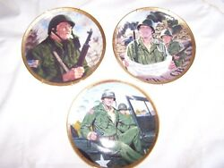 3 John Wayne Army Ed Ltd Edition Collector Plates With Hangars In Excellent C