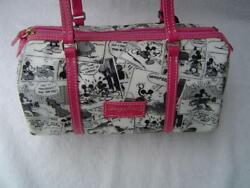 NEW AUTHENTIC DOONEY & BOURKE DISNEY BLACK AND WHITE MICKEY MOUSE BARREL BAG