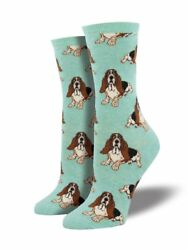 Basset Hound One Size Fits Most Mint Heather Ladies Socks