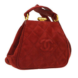 Auth CHANEL Quilted CC Cross Body Shoulder Bag Bordeaux Suede Leather AK28577