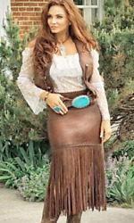 Wild Instincts Long Fringed Skirt- Chocolate Brown