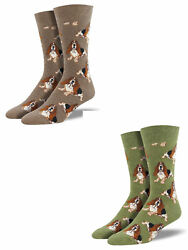 Bundle 2 Items: Basset Hound Brown and Olive One Size Fits Most Mens Socks