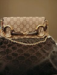 Women's Gucci Horse Bit Leather Tan Canvas GG Shoulder Bag Gold Removable Strap