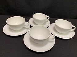 Centura By Corning White Coupe Set Of 4 Cups And Saucers 2 1/4 Tall