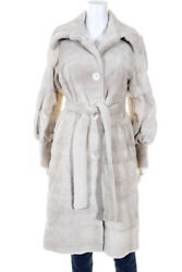 Michael Kors Womens Button Front Belted Sheared Mink Long Coat Beige Size Large