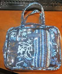 Vera Bradley Blue pattern Clear 4 pc Cosmetic Organizertravel bag NWOT!
