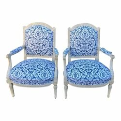 Pair of Antique 19c Paint Decorated Louis XVI Style Arm Chairs W Blue
