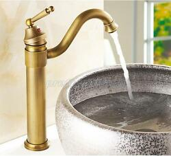 Antique Brass Bathroom Sink Faucets One Hole/handle Lavatory Mixer Taps Pnf015