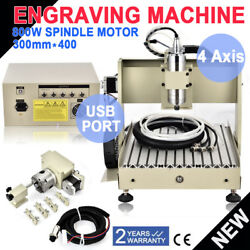 USB 4Axis 800W 3040 CNC Router EngraveMilling Drilling Engraving Cutter Machine