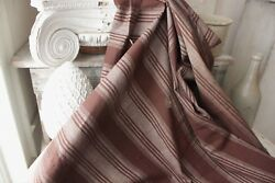 Antique French Ticking Rare 1830and039s Furnishing Fabric Brown Stripe Material