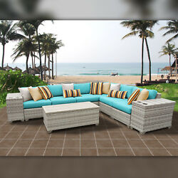 Delacora TKC-DPF-FAI09B Fairmont Outdoor 9 Piece Conversation Set with Fade Resi