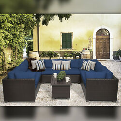 Delacora TKC-DPF-BEL09A Belle Outdoor 9 Piece Conversation Set with Fade Resista