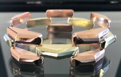 Art Deco 1940and039s 14k Rose And Yellow Gold Link Bracelet
