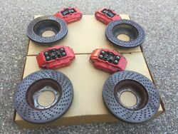 PORSCHE 996 & 987 OEM GENUINE COMPLETE SET (F & R) RED CALIPERS ROTORS & PADS