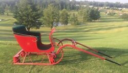 Miniature Horse Mini Pony Single Sleigh Red With Green Velvet Seat And Brass