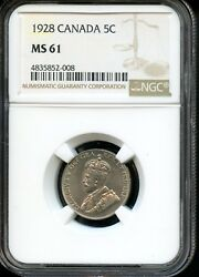 1928 CANADA 5C NGC MS 61 (MINT STATE 61) CANADIAN 5C COIN OW2