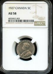 1927 CANADA 5C NGC AU 58 (ABOUT UNCIRCULATED 58) CANADIAN 5C COIN OW4