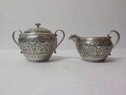 Bailey Banks And Biddle Aesthetic Movement Sterling Silver Creamer And Sugar