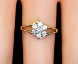 Vintage Women's 14K Gold 13 Ct RB Diamond Cluster Floral Style Ring Size 6.75