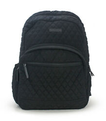 Vera Bradley Classic Black Quilted Cotton Essential School Backpack Bag New