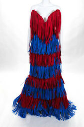 Moschino Couture Womens Red Blue Fringe Embellished Strapless Gown Size 6 NEW
