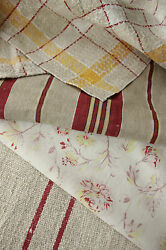 Antique Vintage French Fabric Coordinating Pieces Lovely Ticking + Grain Sack