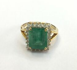 Vintage Antique Solid 14k Gold Jewelry Natural Emerald And Diamond Gemstones Ring