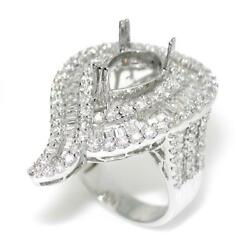 Dome Engagement Ring Setting For 12.0 mm Pear Cut With 3.84 TCW Diamond Accents